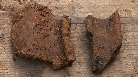 Pottery fragments found at the site. Picture: Andrew Rafferty