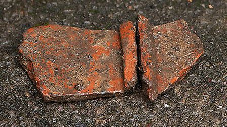 Roof tiles found at the site. Picture: Andrew Rafferty