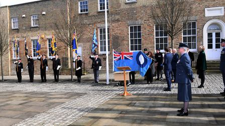 Flag raising in Huntingdon to mark the 100th anniversary of the RAF