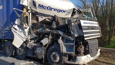 The scene of the collision on the A14 in Godmanchester. Picture: BCH Road Policing