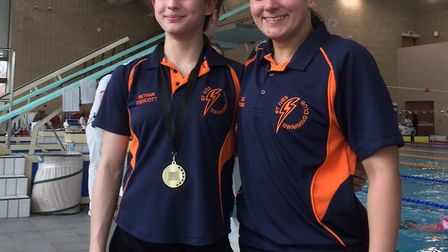Bethan Endicott (left) and Cathy Thomson (right) of St Ives Swimming Club.