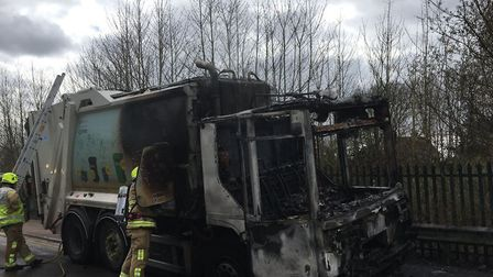 A bin lorry caught fire in Harpenden. Picture: Markyate Fire Station @MarkyateFire
