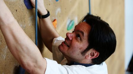 Archant Herts group editor Matt Adams during a climbing taster session with Westminster Lodge climbi