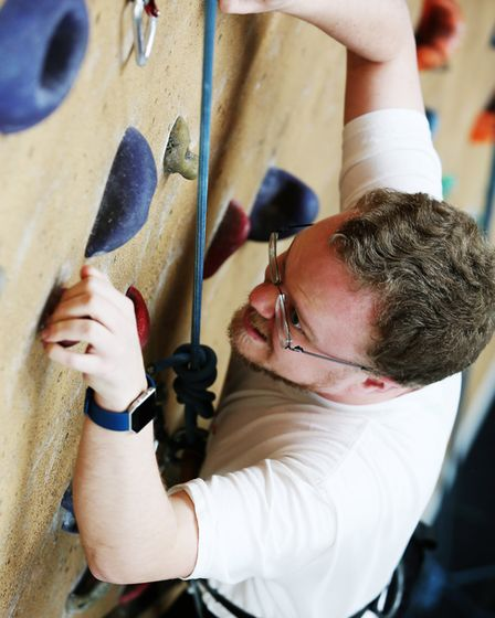 Herts Advertiser reporter Fraser Whieldon during a climbing taster session with Westminster Lodge cl