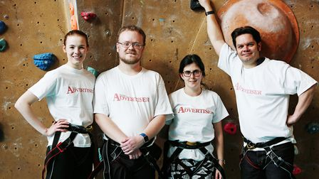 The Herts Advertiser team during a climbing taster session with Westminster Lodge climbing manager I