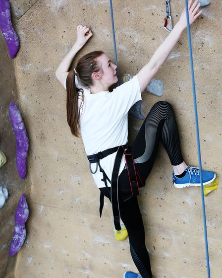 Herts Advertiser reporter Franki Berry during a climbing taster session with Westminster Lodge climb