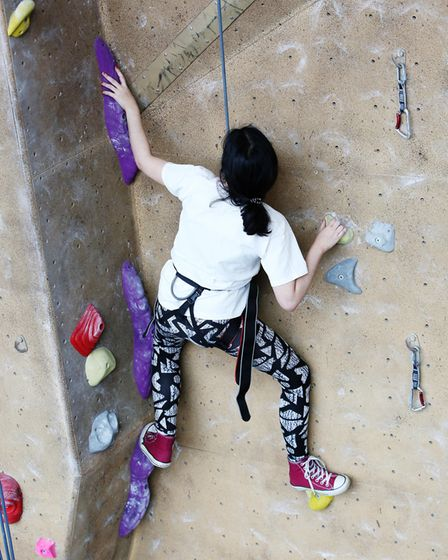 Herts Advertiser reporter Anne Suslak during a climbing taster session with Westminster Lodge climbi