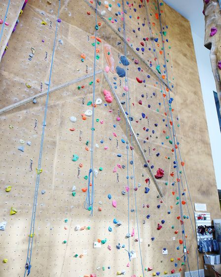 The climbing wall at Westminster Lodge. Picture: Danny Loo