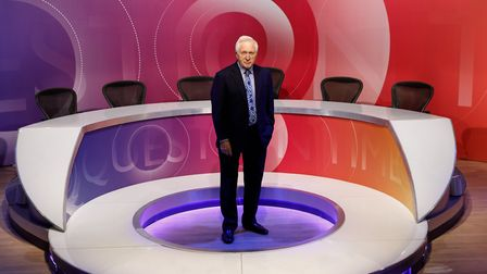David Dimbleby on the Question Time set.