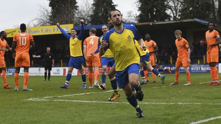 Sam Merson wheels away after scoring for St Albans City. Picture: BOB WALKLEY
