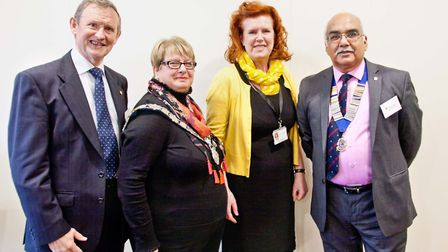Left to right: Brian Edwards, life skills lead at Harpenden Lions Club, Harpenden town mayor Rosemar