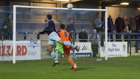 Goalscorer Nabil Shariff gets in an effort for St Neots Town against St Ives Town. Picture: CLAIRE H