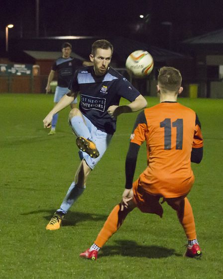 Tom Meechan enjoyed a successful start to his third spell as a St Neots Town player. Picture: CLAIRE