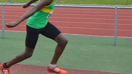 Ayo Opaleye leaped to triple jump success and a new Hunts AC club record.