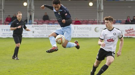 Dion Sembie-Ferris scored St Neots Town's second goal at Dorchester. Picture: CLAIRE HOWES