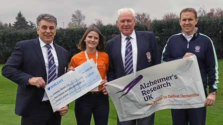 Paul Toyer, club pro; Barry Stearns, captain 2018; Holly Noon, from Alzheimer's UK, and Soccorso Gal