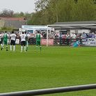 Royston Town's Adam Marriott scores from the penalty spot against Biggleswade Town (pic Layth Yousif