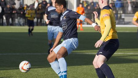 St Neots Town striker Nabil Shariff hit their late equaliser at King's Lynn. Picture: CLAIRE HOWES