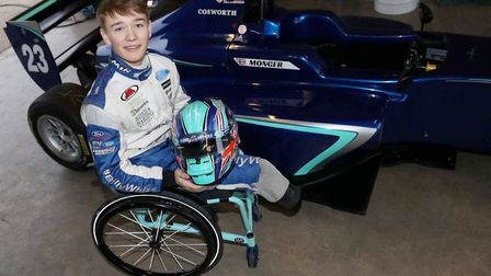 Billy Monger in his new chair