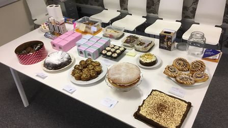 Some of the cakes on offer at the Language Factory bake sale.