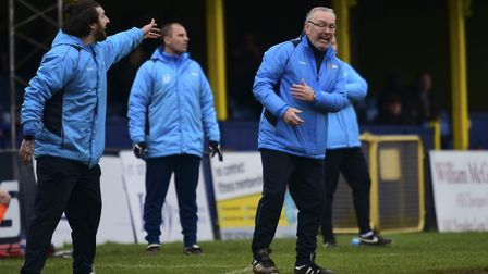 Lee and Ian Allinson bark out instructions against Braintree. Picture: BOB WALKLEY