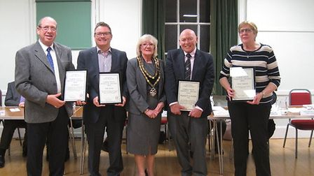 Royston town mayor Vera Swallow with some of the award winners and those collecting awards on behalf