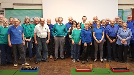 Tournament competitors with some of the new equipment purchased by Spaldwick Bowls Club. Picture: CO