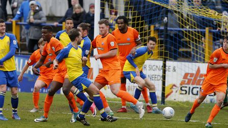 Sam Merson fires the ball into the back of the net. Picture: LEIGH PAGE