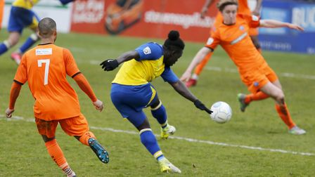 Solomon Sambou fires the ball into a crowded Braintree penalty area. Picture: LEIGH PAGE