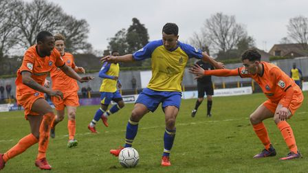 Zane Banton holds off the Braintree defence. Picture: BOB WALKLEY