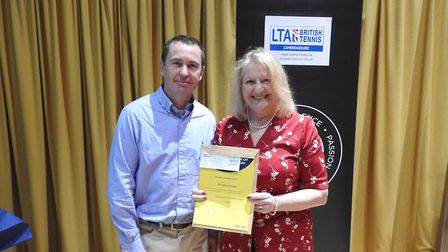 Christine Knight pictured with professional tennis player Danny Sapsford. Picture: Cambridgeshire LT