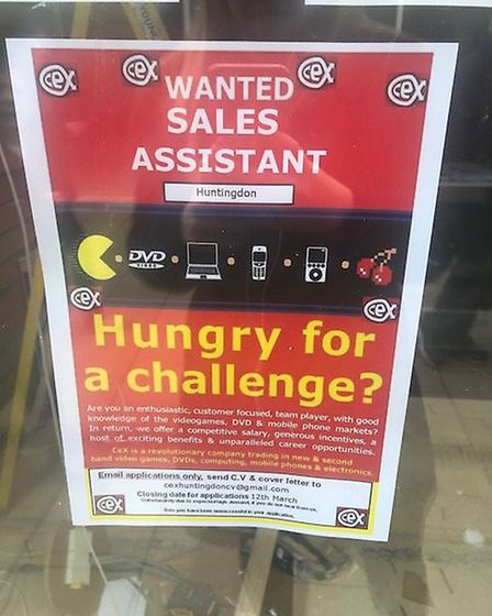 The shop is currently advertising for staff.