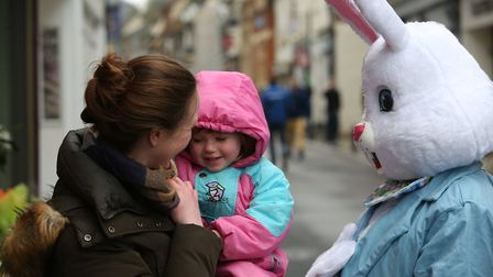 Families take part in the Easter egg hunt and bunny hunt in Royston Town centre. Picture: DANNY LOO