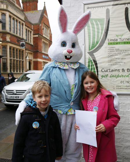 The Winfield family taking part in the Easter egg hunt and bunny hunt in Royston Town centre. Pictur