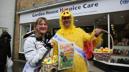 The Garden House Hospice Easter fundraising team outside the shop in Royston Town centre. Picture: D