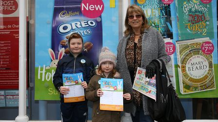 The McDonough family taking part in the Easter egg hunt and bunny hunt in Royston Town centre. Pictu