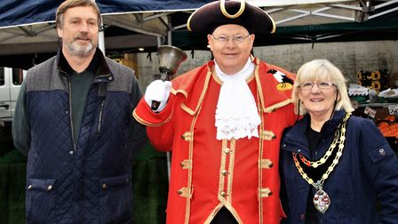 Royston town manager Geraint Burnell, town crier Graham Pfaff and town mayor Vera Swallow. Picture: