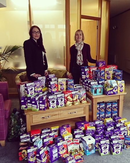 Cecil Newling's Jessica Geer presenting Jo Adams of HSRSC with the egg donations. Picture: Cecil New