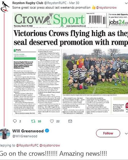 England legend Will Greenwood's tweet to Royston Rugby Club and the Royston Crow newspaper