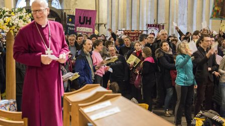 The Bishop of St Albans with pilgrims. Picture: Arun Kataria