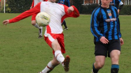 Harpenden Colts' Max McKenzie scored one of his three goals against Jolly Sailor.