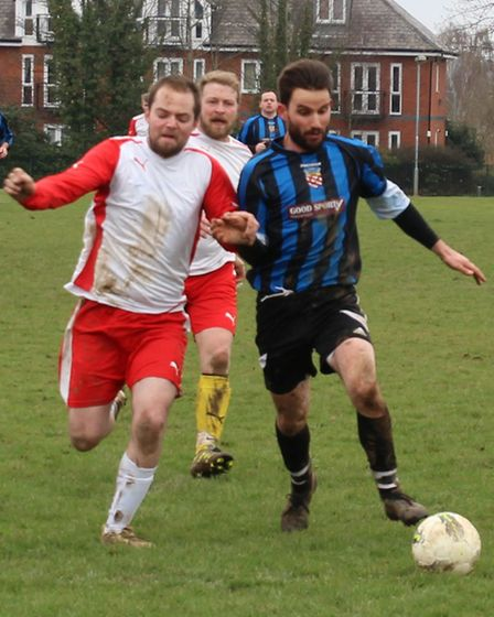 Edi Bokciu of Harpenden Colts was a constant threat to the Jolly Sailor defence, scoring twice.