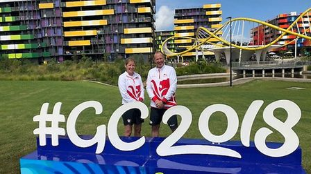 Andy and Sophie in the Gold Coast at the Commonwealth Games.