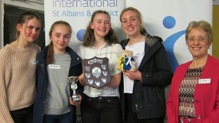 Sophie, Rachael, Caitlin and Lucy from the Harpenden Girls' team receiving the soroptimist Audrey Co