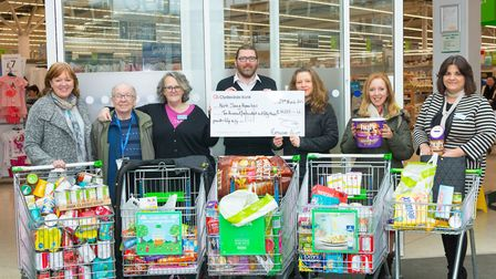The food bank at Hatfield Asda for Herts Young Homeless.