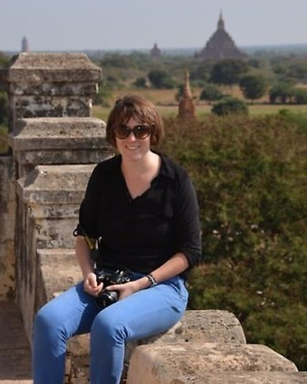 Emma in the ancient city of Bagan in Myanmar in 2014.