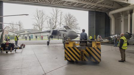 Tornado GR-4 ZA469/029 moving from Airspace Conservation Hangar to Hangar 4 at IWM Duxford. [Picture