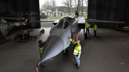 A Tornado GR4 goes on display at IWM Duxford as part of the museum's Battle of Britain exhibition. P