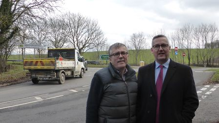 Herts County councillor Steve Jarvis and Cambs County councillor Sebastian Kindersley at the junctio
