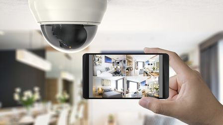 A mobile connected to security cameras.